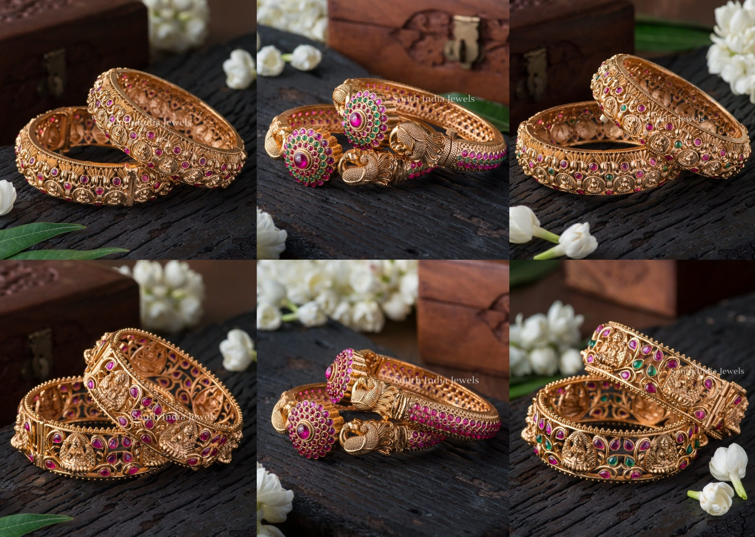Antique Nakshi And Kemp Bangles By South India Jewels