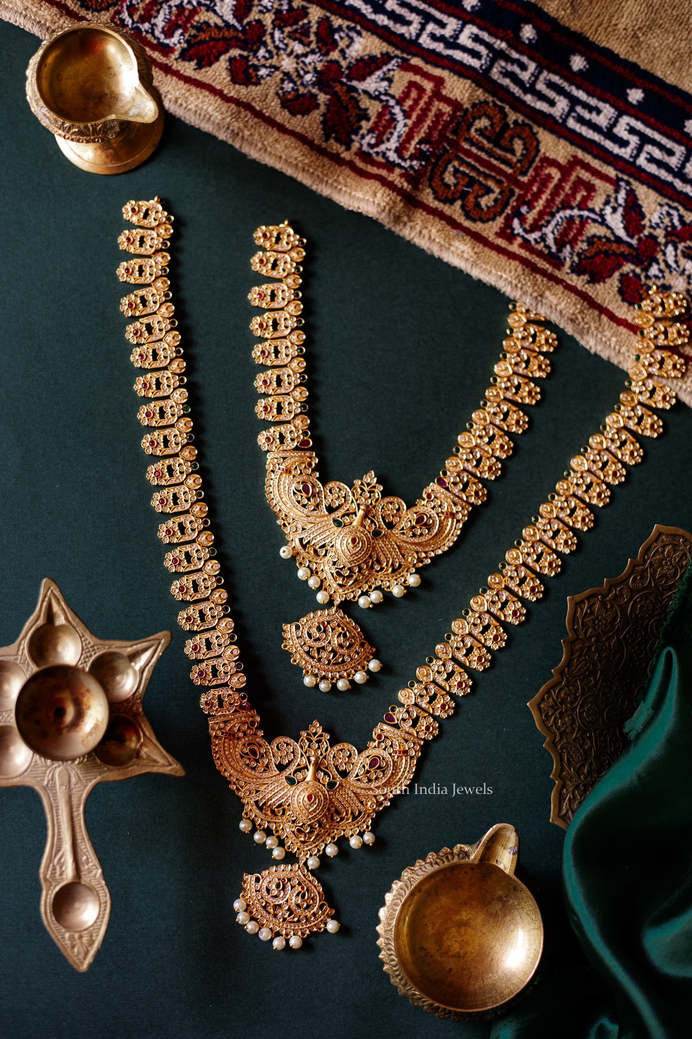 Traditional Peacock Design Short & Long Haram By South India Jewels!
